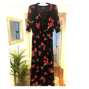 NWOT size medium Express black and red floral maxi